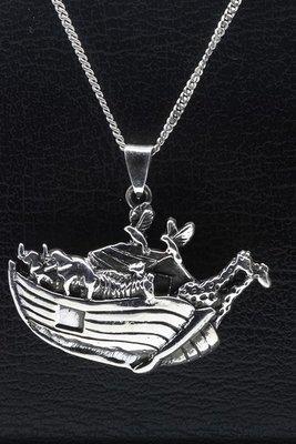 Zilveren Ark van Noach ketting hanger - 2