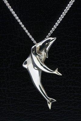 Zilveren Dolfijn moeder en jong ketting hanger