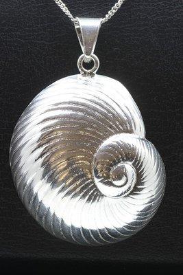 Zilveren Slakkenhuis XL ketting hanger