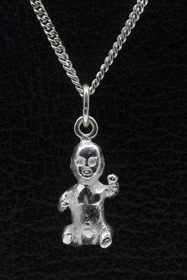 Zilveren Baby zittend ketting hanger