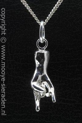 Zilveren Duivelshand groot ketting hanger
