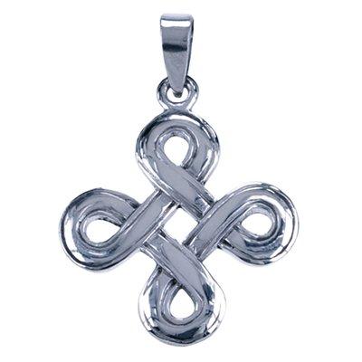Zilveren Eindeloze knoop ketting hanger - eenvoudig