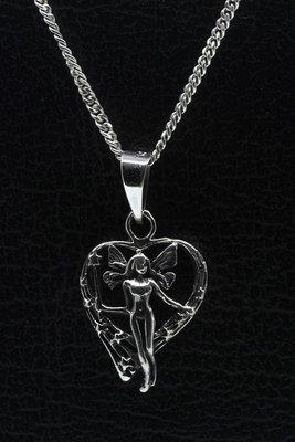 Zilveren Engel in hart gezwart ketting hanger