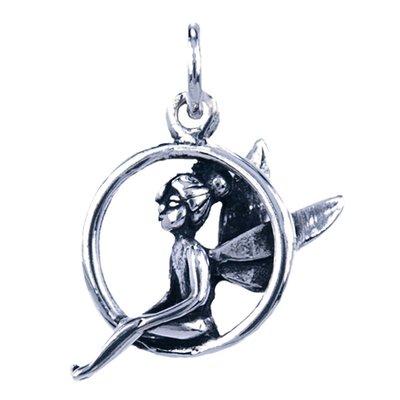 Zilveren Elf ketting hanger - zittend in ring