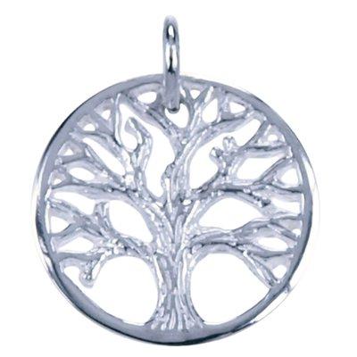 Zilveren Levensboom ketting hanger - 15mm in cirkel