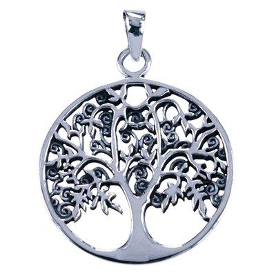 Zilveren Levensboom krullig ketting hanger