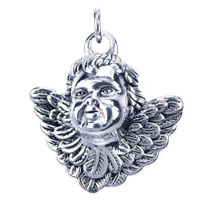 Zilveren Engel in 3D ketting hanger