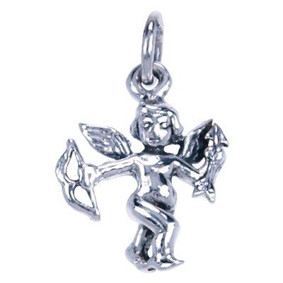 Zilveren Cupido pijl en boog ketting hanger