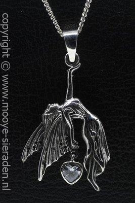 Zilveren Engel met kristal helder hart ketting hanger