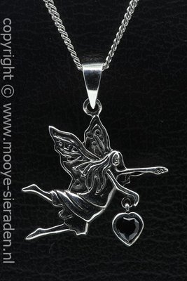 Zilveren Engel met kristal zwart hart ketting hanger
