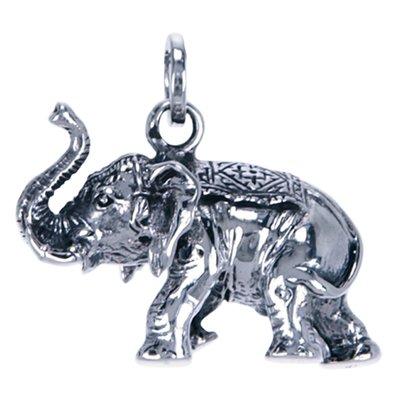 Zilveren Olifant slurf omhoog ketting hanger