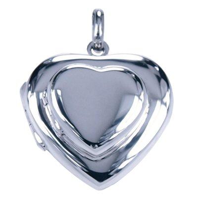 Zilveren Foto medaillon dubbel hart ketting hanger - 4 foto's