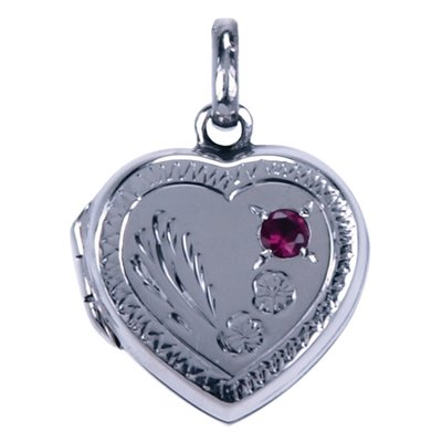 Zilveren Foto medaillon hart rood steentje ketting hanger - 2 foto's