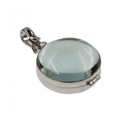 Zilveren Foto medaillon in glas rond ketting hanger - 2 foto's