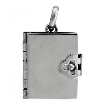 Zilveren Foto medaillon boek groot ketting hanger