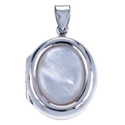 Zilveren Foto medaillon ovaal witte schelp ketting hanger - 2 foto's