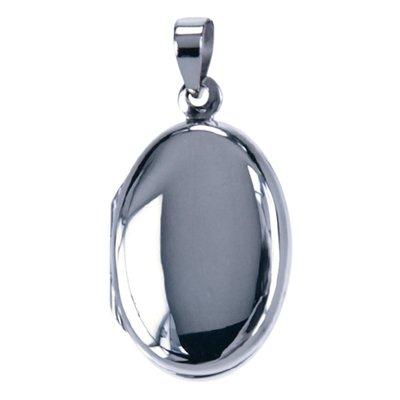 Zilveren Foto medaillon Ovaal glad ketting hanger