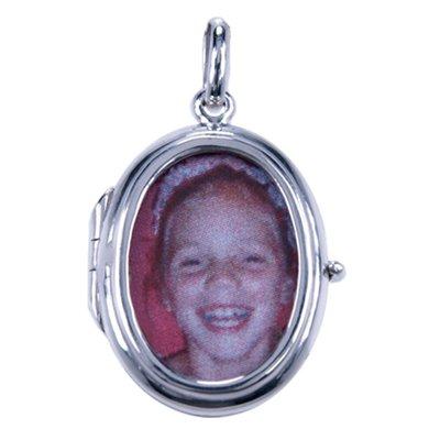 Zilveren Foto medaillon Ovaal 2 x glas 2 foto's ketting hanger