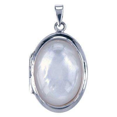 Zilveren Foto medaillon ovaal met witte schelp 2 foto's ketting hanger