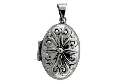 Zilveren Foto medaillon Ovaal fantasie ketting hanger