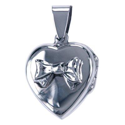 Zilveren Foto medaillon Hart met strik ketting hanger