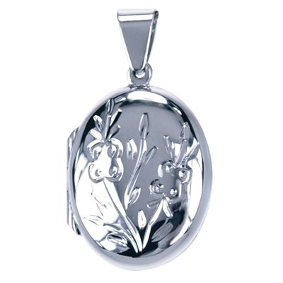 Zilveren Foto medaillon Ovaal met vlinders ketting hanger