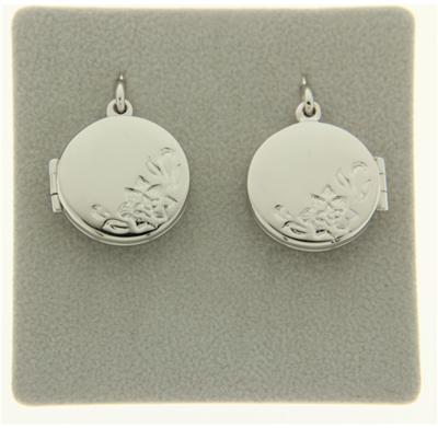 Zilveren Foto medaillon rond met bloemen 2 foto's ketting hanger