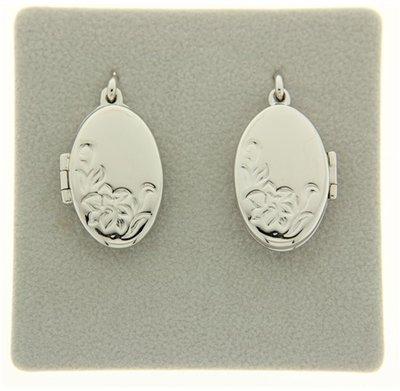 Zilveren Foto medaillon Ovaal met bloemen 2 foto's ketting hanger