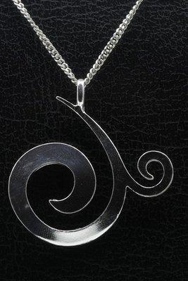 Zilveren Curl design ketting hanger