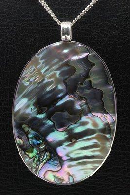 Zilveren Ovaal met parelmoer ketting hanger - groot