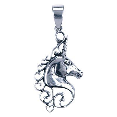 Zilveren Eenhoorn hoofd ketting hanger