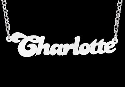 Zilveren Naamketting lettertype Charlotte