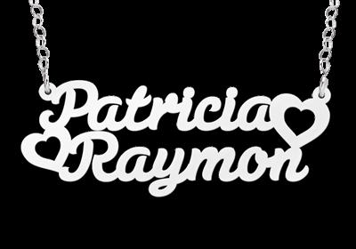 Zilveren Naamketting lettertype Patricia - hart - Raymon