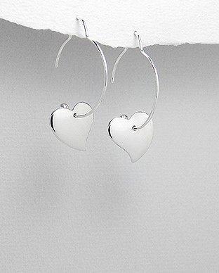 Zilveren groot hart oorhanger