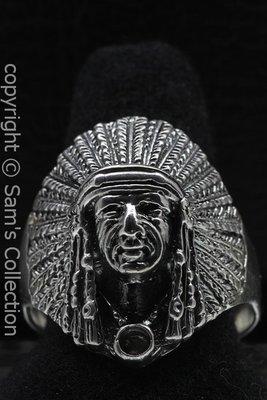 Zilveren Indiaan met turquoise steen ring