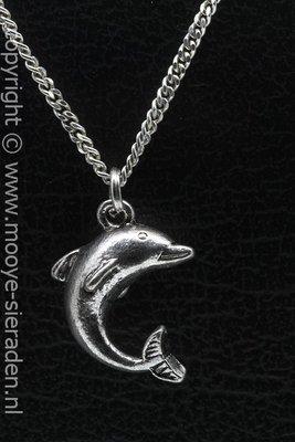 Dolfijn ketting hanger Zilvermetaal