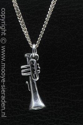 Trompet ketting hanger Zilvermetaal