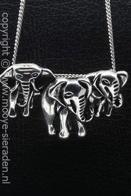 Olifanten trio ketting hanger Zilvermetaal