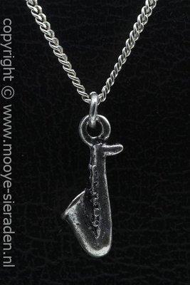 Saxofoon ketting hanger Zilvermetaal