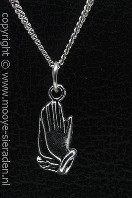 Biddende handen ketting hanger Zilvermetaal