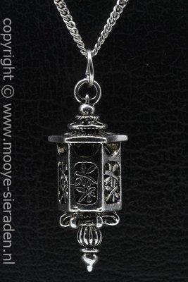 Lantaarn ketting hanger Zilvermetaal