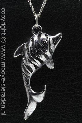 Dolfijn opengewerkt groot ketting hanger Zilvermetaal