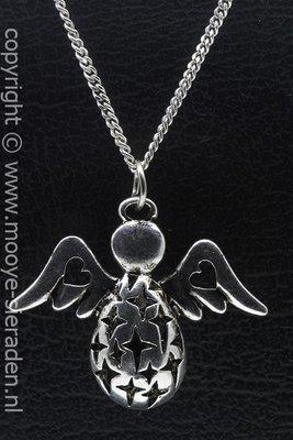 Engel hart en ster ketting hanger Zilvermetaal
