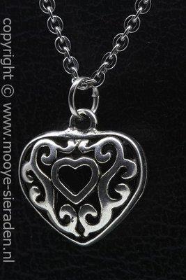 Hart met hartje ketting hanger Zilvermetaal