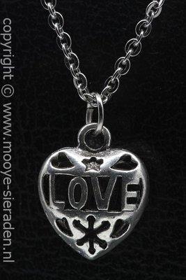 Hart met love ketting hanger Zilvermetaal
