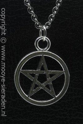 Pentagram ketting hanger Zilvermetaal