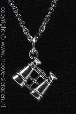 Verrekijker ketting hanger Zilvermetaal