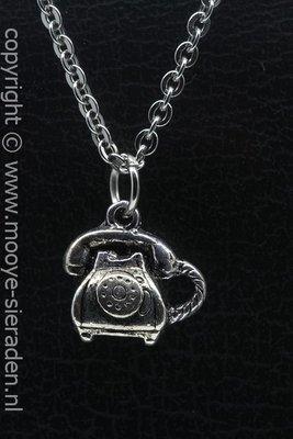 Telefoon met hoorn ketting hanger Zilvermetaal