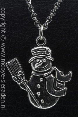 Sneeuwpop ketting hanger Zilvermetaal