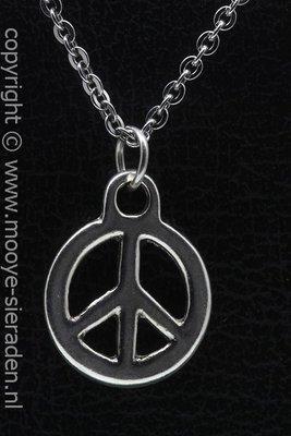 Vredesteken ketting hanger Zilvermetaal
